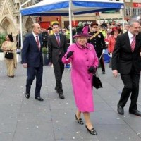 Queen Elizabeth in Leicester at the start of her tour in March.